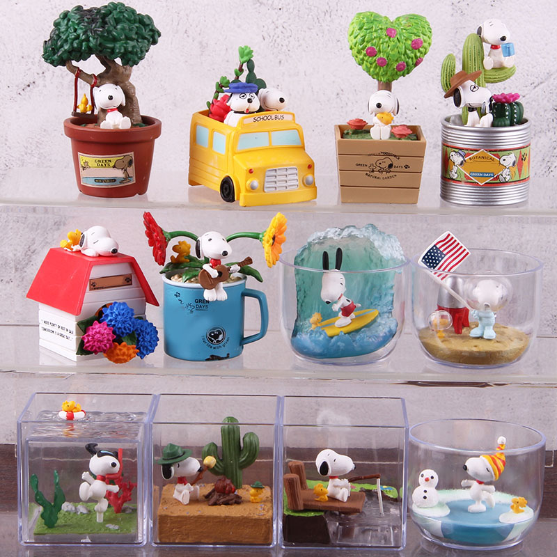 Anime Cartoon Woodstock Happy Terrarium Peanuts Camping Snorkeling Dog PVC Action Figure Collectible Model Toy for Kid 6pcs/setAction & Toy Figures   -