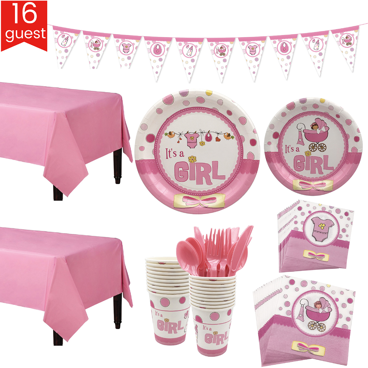 Pink & Blue Baby Shower Party Tableware & Banner Set For 16 Guests Plates Cups Table Cloth Knife Fork Spoon Party Decoration