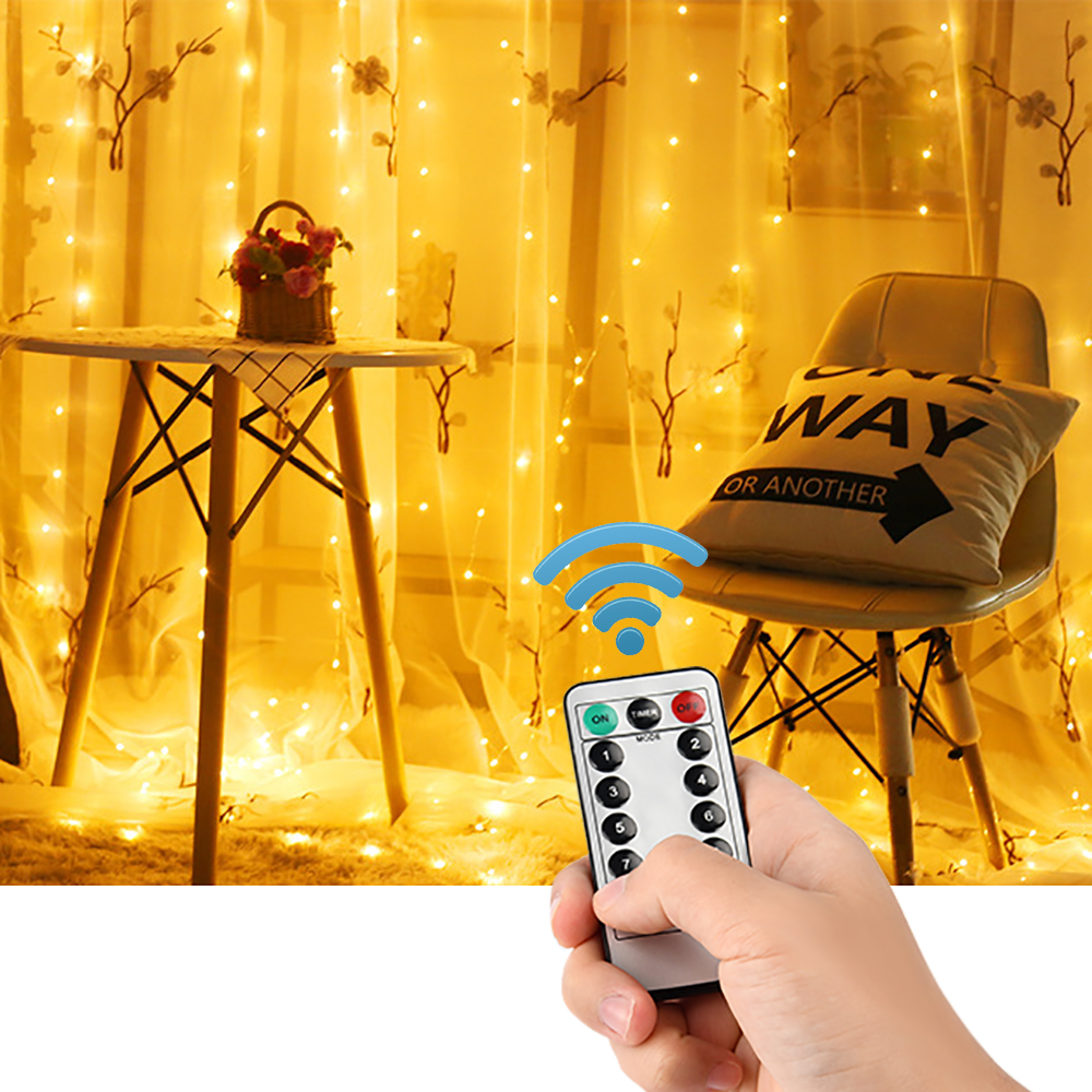 3M 300 LED Christmas Garland Star Curtain Lights USB Outdoor/Indoor Decoration String Fairy Lamp For Party Wedding Holiday