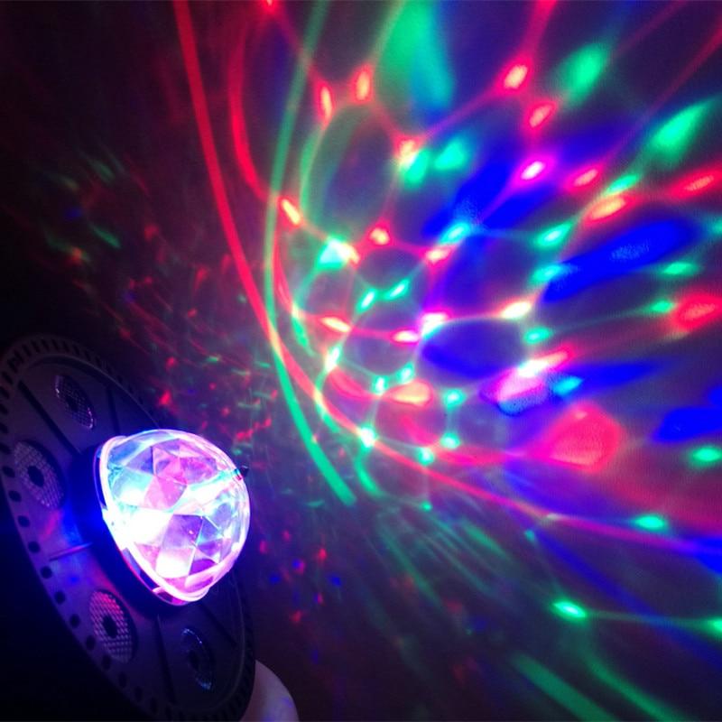 Купить с кэшбэком Led RGB Mini Stage Light AC 85-265V Magic Crystal Ball Lamp 9W Laser Light 220V 110V Christmas Dance Party Lantern Projector
