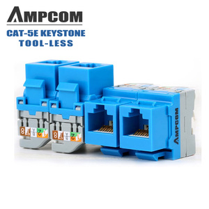 CAT5e/ CAT6 Tool Less Keystone Jack,AMPCOM RJ45 Self-Locking Cat.5e Keystone Module Adapter No Punch-Down Tool Required Couplers(China)