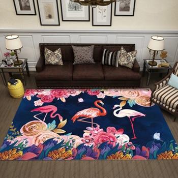 Alfombra de flamenco para sala de estar, decoración de dormitorio con hojas...