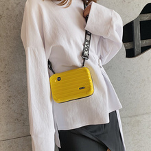 SHUJIN 2019 Hot Personality Fashion Women Mini Suitcase Shape Crossbody Bag Shoulder with Wide Letter Strap High Quality