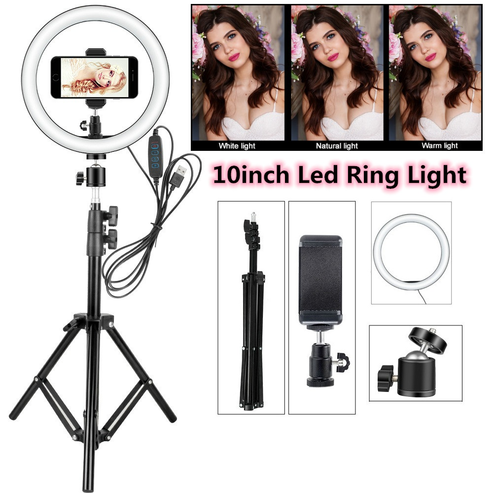 LED Ring Light 12W 5500K Photo Studio Photography Selfie Lights Photo Fill Ring Lamp With Tripod For Iphone Yutube Video Makeup