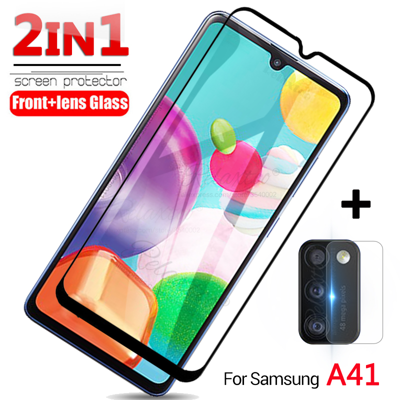 For Samsung A 41 2IN1 Protective Camera Tempered Glass On For Samsung Galaxy A41 A415F Screen Protector Phone Lens Display Film