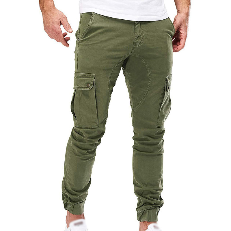 Mens Pants Autumn Winter Casual Loose Trouser Cargo Slim Fit Fashion Combat Zipper Bottom Army Male Pants
