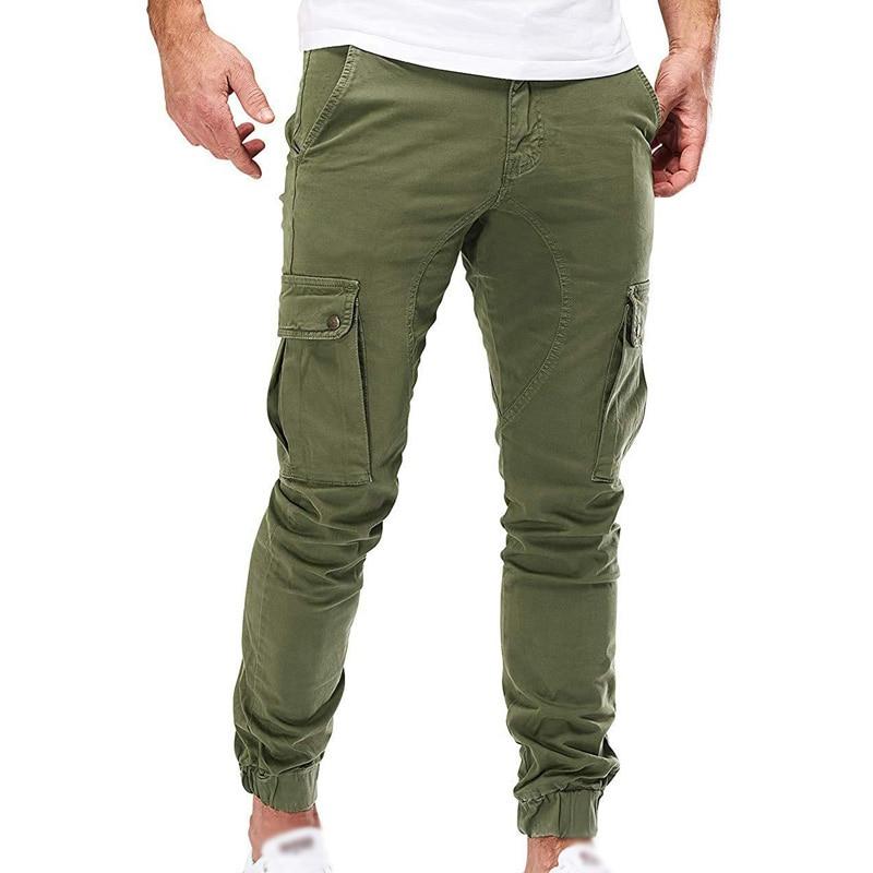 Mens Pants Autumn Winter Casual Loose Trouser Cargo Slim Fit Fashion Combat Zipper Bottom Army Male Pants