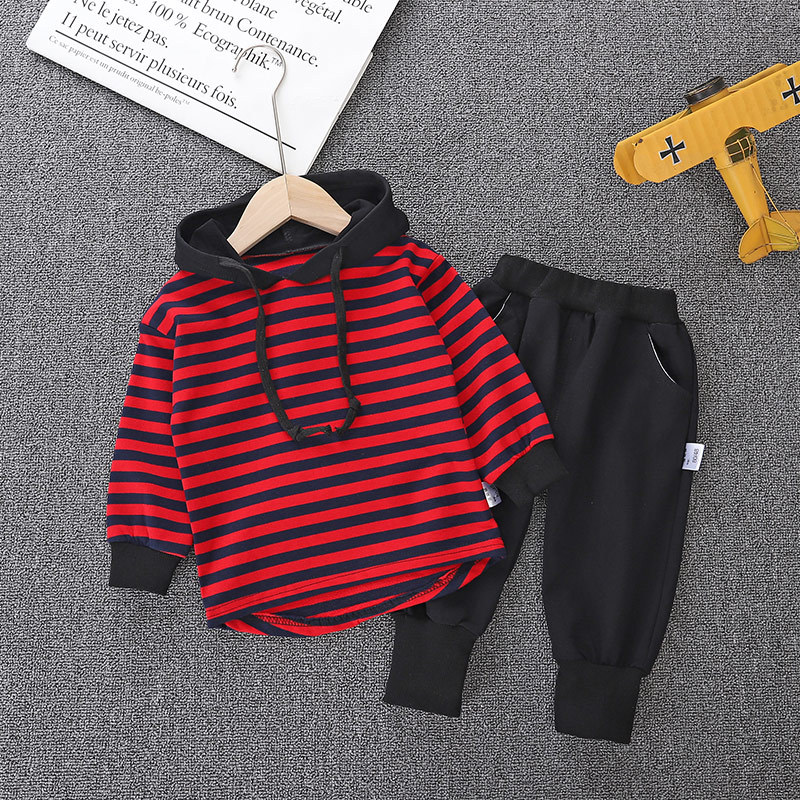 Winter Long Sleeves T-shirt With Hats Child Pants 2pcs Striped Toddler Boy Clothes Children's Sets 2