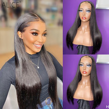 ALICE Straight 13×6 T part Lace Front Human Hair Wigs 150% Density Scalp Top Closure Wigs With Baby Hair Non-Remy