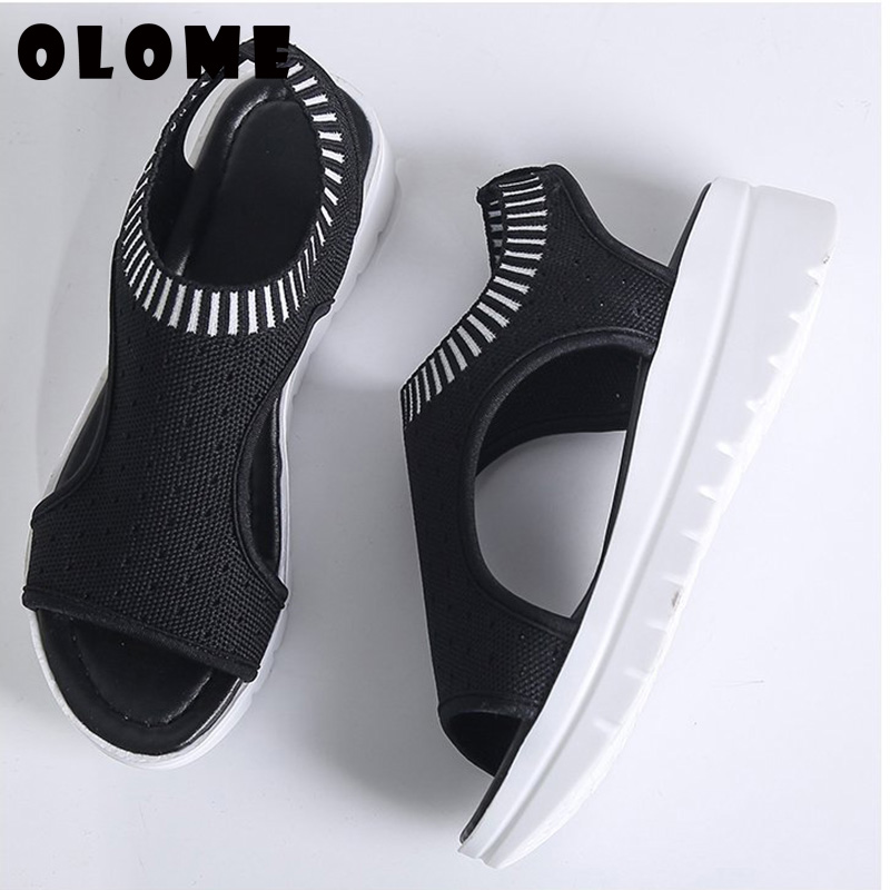 2019 Summer Flying Woven Hollow Sports Sandals Female Korean Version Of The Wild Thick Bottom Wedge Mesh Fish Mouth Sandals