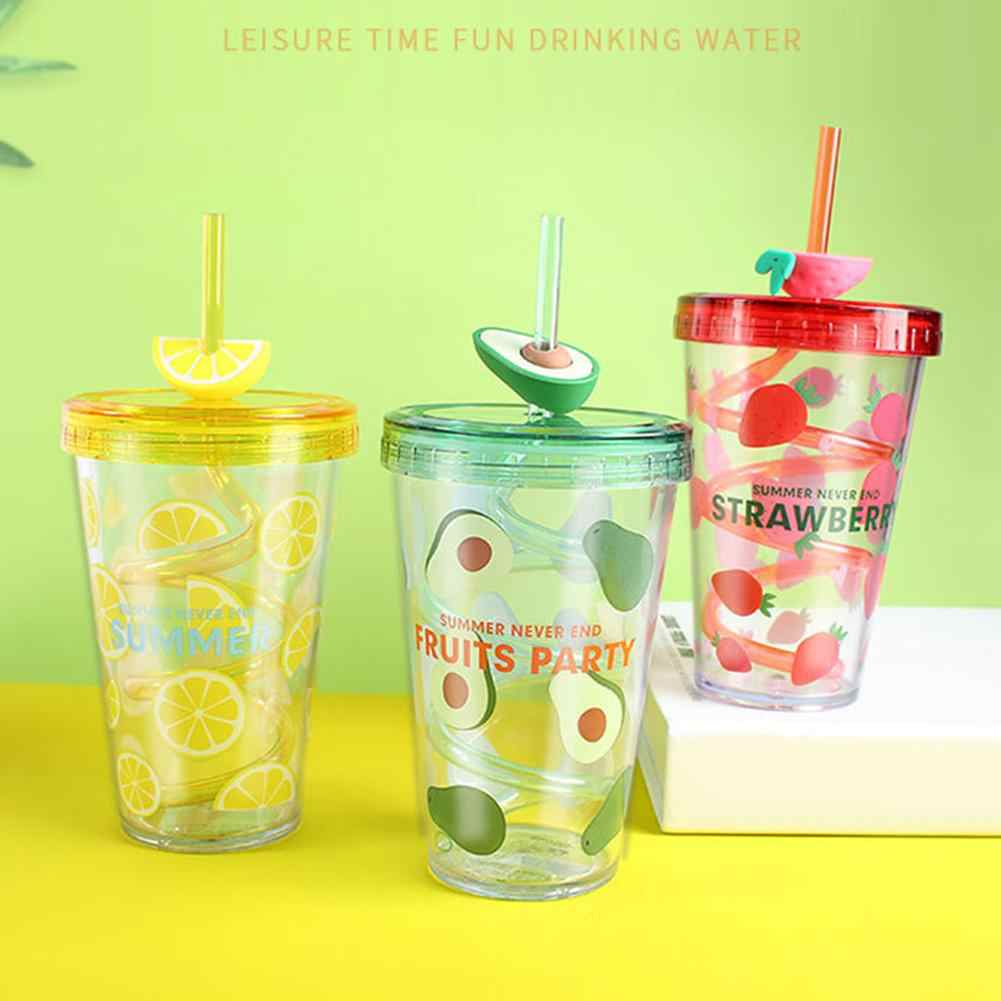 Candy-Colored Children/'s Cup Student Adult Portable Straw Cup Large Capacity Cup