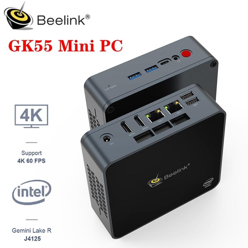 Beelink GK55 Мини ПК компьютер Windows 10 Intel Gemini Lake R J4125 четырехъядерный 8 ГБ 128/256 ГБ 5,8G Wifi bluetooth 4,0 4K 60 @ fps