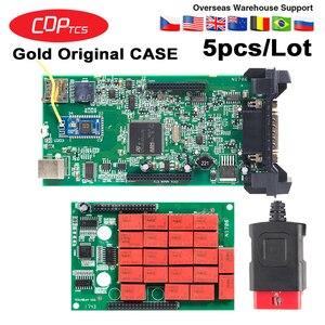 Image 1 - 5 יח\חבילה זהב CDP TCS V3.0 Bluetooth 2015. r3/2016.00 סדק תוכנת obd2 סורק מכוניות משאיות OBDII אוטומטי אבחון כלי