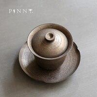 Pinny gilt retro gaiwan feito à mão ferrugem esmalte chá tureen kung fu chinês conjunto de chá cerimônia de chá acessórios cerâmica drinkware