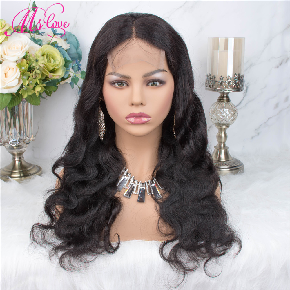 H0123a2183f7e4381b23b0b3fcbf05131E Ms Love 4X4 Lace Closure Human Hair Wigs Body Wave Brazilian Human Hair Wigs For Black Women Natural Color Non Remy Wig
