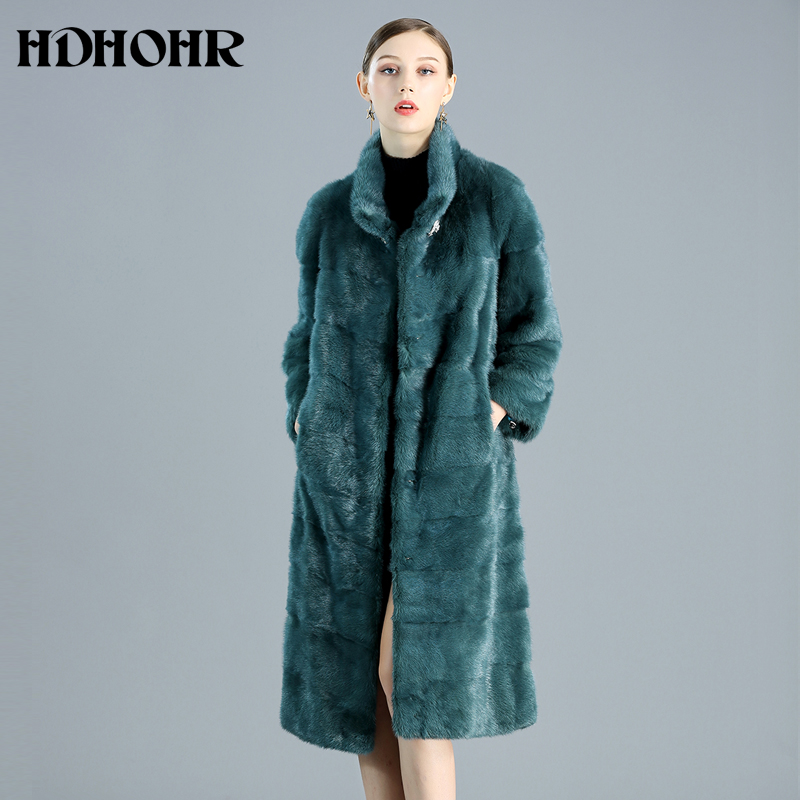 HDHOHR 2019 High Quality New Real Fur Coats Women Long Natural Mink Fur Coats Fashion Warm Winter Short Fur Jackets