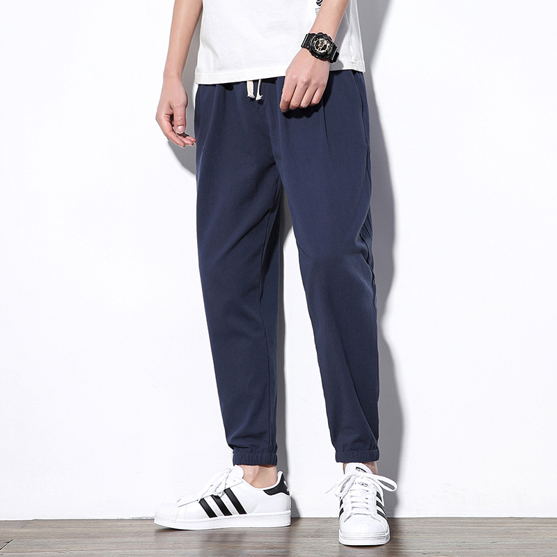 Summer Men's Casual Pants Cotton Hip Hop Ankle-Length Men Cross-pants Loose Solid Color Beam Foot Fashion Casual Trousers Male