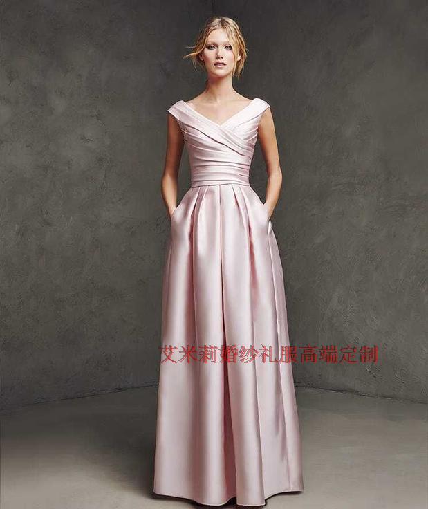 New Hot Sexy V-neck Long Party Dresses 2015 Vestidos A-line Cap Sleeve Floor-length Formal Evening Dress Free Shipping
