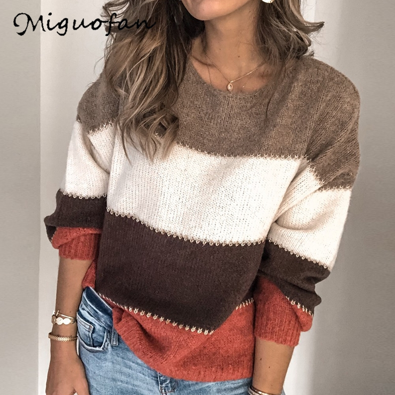 Miguofan Contrast Color Stitching Sweaters Pulloers Women Knitting Sweaters Autumn Winter Jumpers Female Plus Size 5xl Sweaters