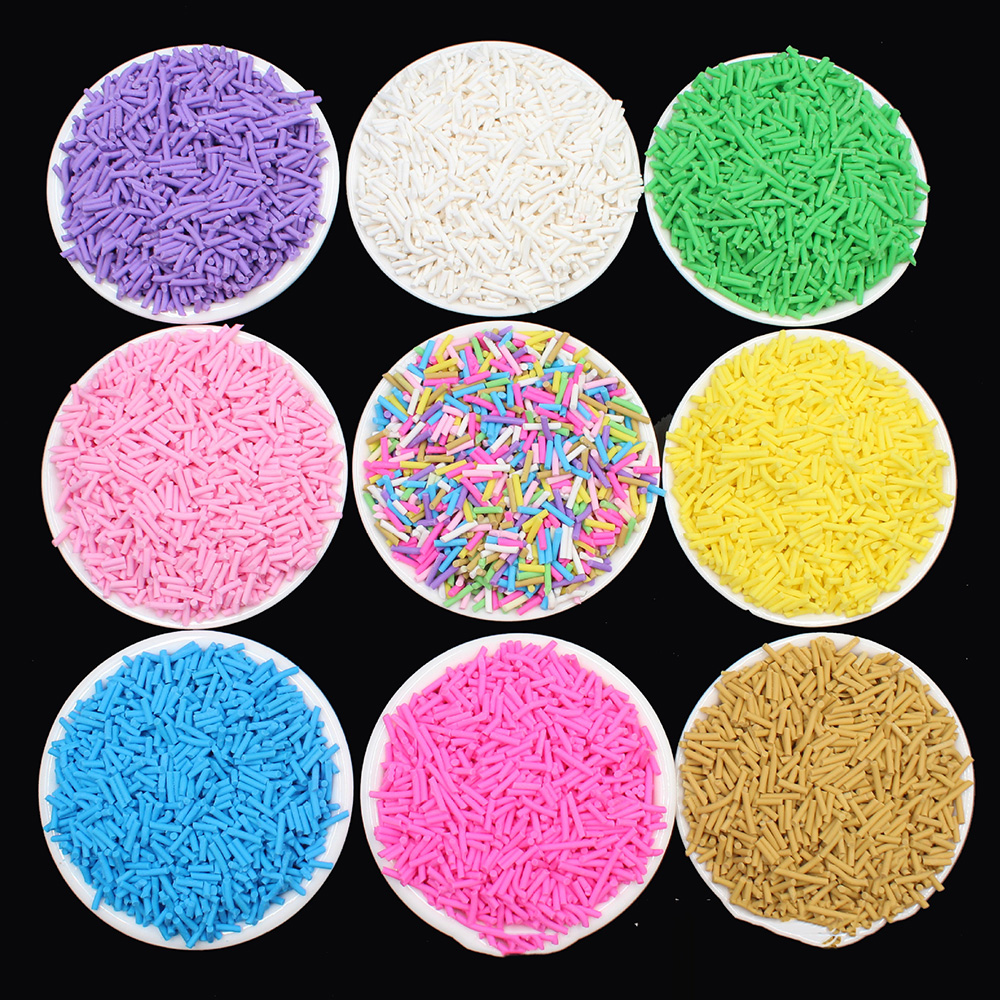 100g/lot 7mm Long Hot Clay Sprinkles For Crafts Fimo Polymer Clay Fake Cake Sprinkles Decoration Slime Material Accessories DIY
