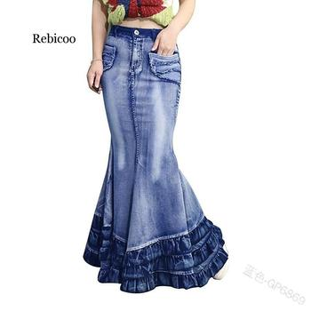 Rebicoo Women Skirt Mermaid Trumpet High Waist Denim Casual Fashion New Ladies Long Skirts ruched high waist maxi trumpet skirt