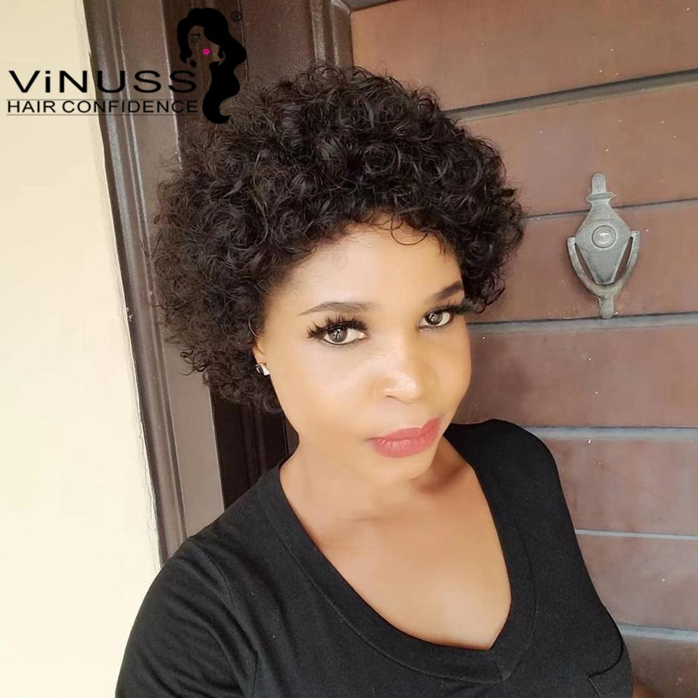 Vinuss Pixie Cut 13*4 Front Lace Wig Human Hair Wig Short Curly Lace Frontal Wigs Pre-Plucked With Band For Black Women