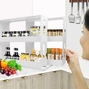 Rotatable Push-pull Storage Organizer Shelf Condiment Bottle Rack Storage Holders Rack Rangement Cuisine Kitchen Storage Cocina