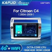 Kapud-Radio Multimedia con GPS para coche, Radio con reproductor, Android 10,0, 9 pulgadas, estéreo, Wifi, ocho núcleos, para Citroen C4, c-triomphe