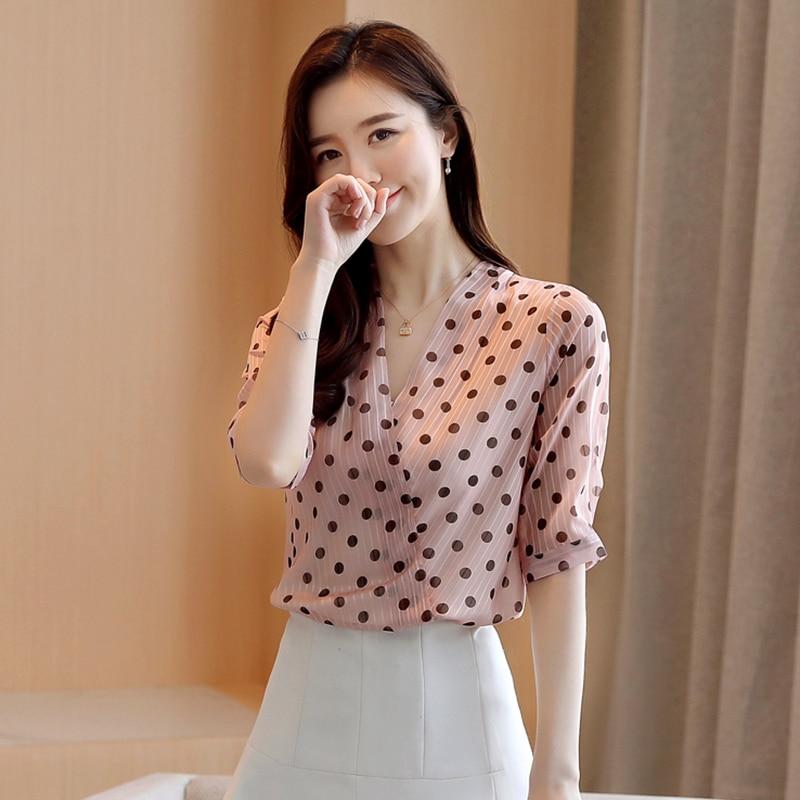 Korean Chiffon Blouses Women Short Sleeve Polka Dot Shirt Woman V-neck Print Blouse Tops Blusas Mujer De Moda 2020 Women Shirts