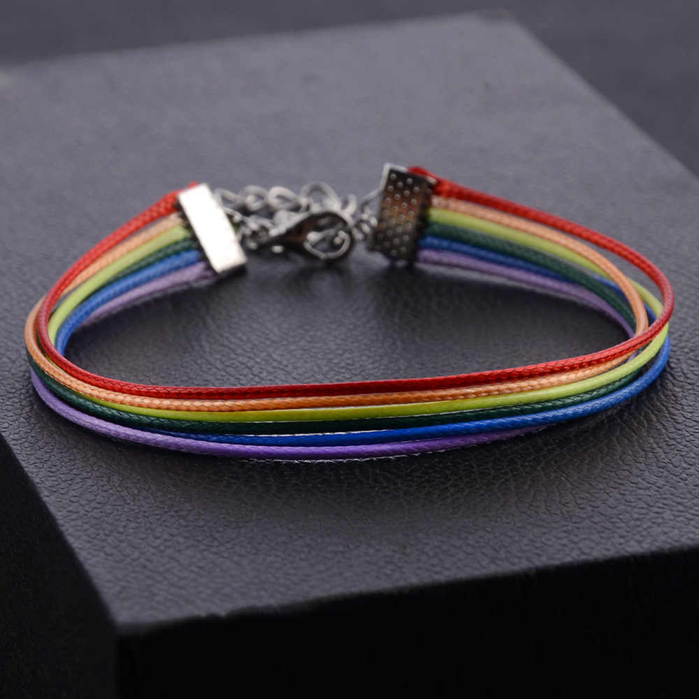 Rainbow Lesbian Pride Gay Pride Woven Braided Rope String Strand Friendship Bracelet Exquisite Wristlet Lgbt Bracelet