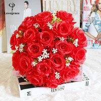 18 голов искусственные цветы розы Букет Гипсофилы букет роз из шелка DIY Свадебные цветы розы Шелковые цветы искусственные