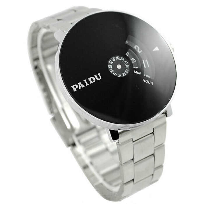 Roestvrij Zilveren Band Paidu Quartz Horloge Black Turntable Dial Mens Gift Elektronische Horloge Digitale Horloge Fashion Gift Mannen