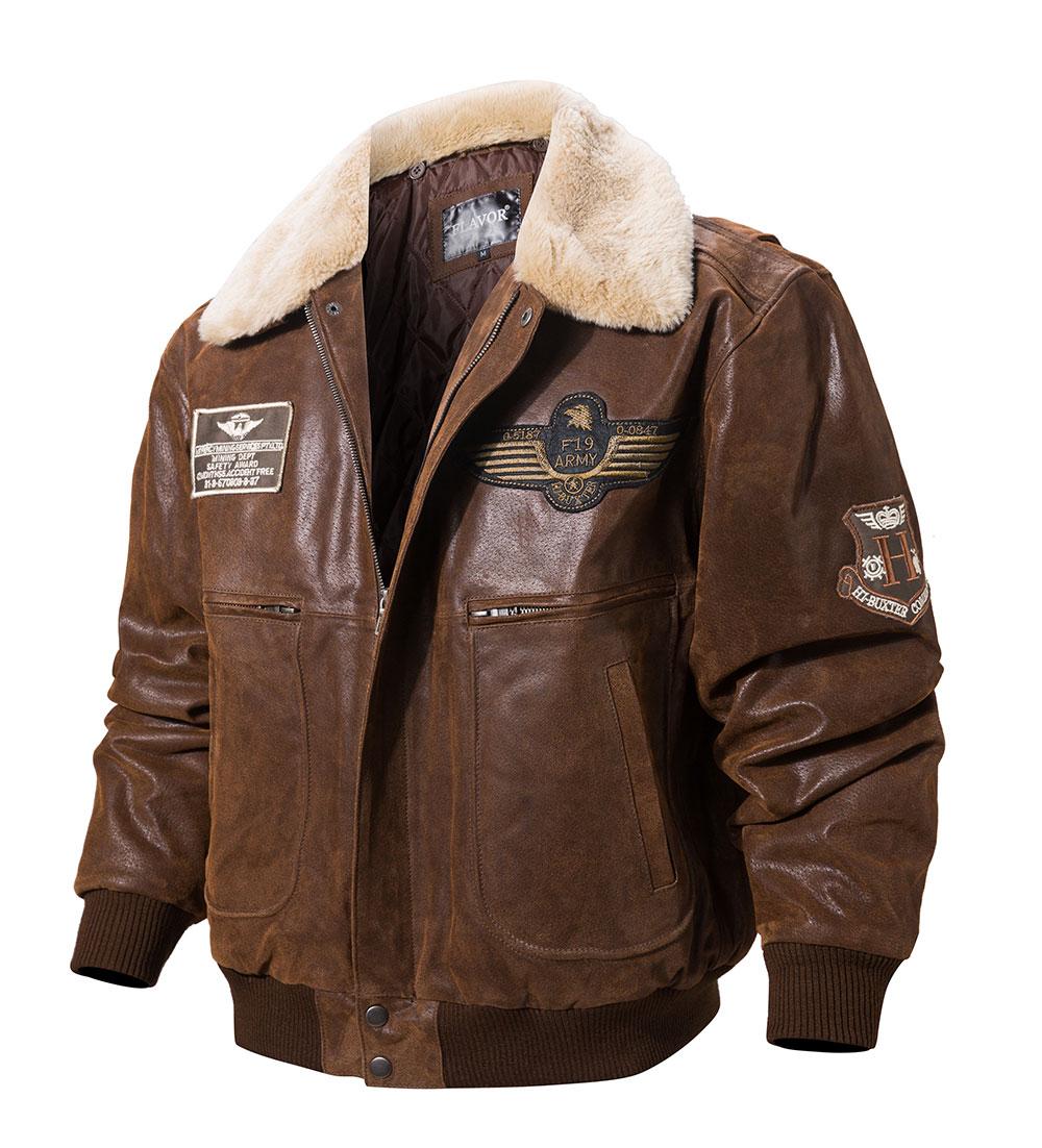 H012439f7e7124cfb9e70e30b802a7ddc5 FLAVOR New Men's Real Leather Bomber Jacket with Removable Fur Collar Genuine Leather Pigskin Jackets Winter Warm Coat Men