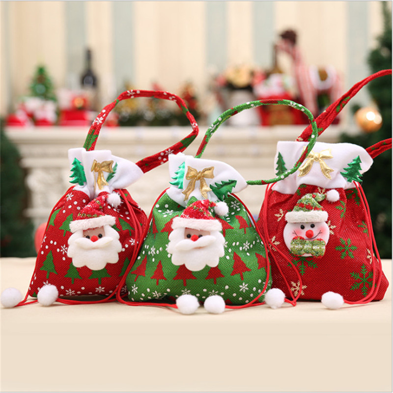 Merry Christmas Gift Bags Santa Claus Portable Tote Drawstring Storage Candy Bags Christmas Decorations Xmas Packaging Bags