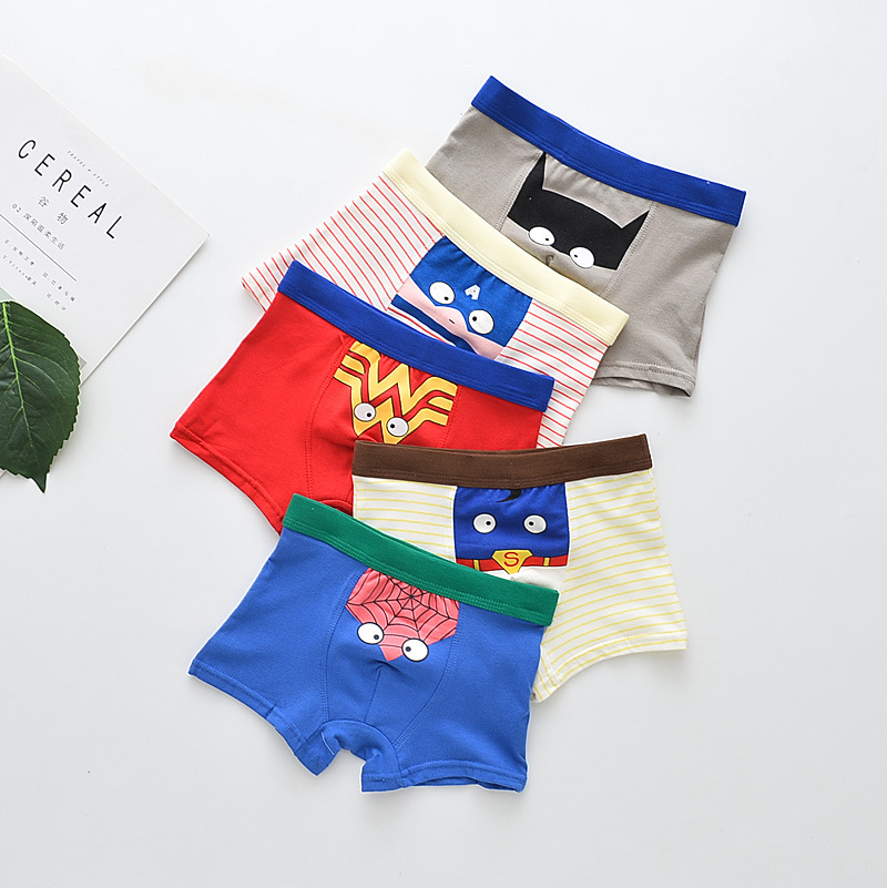 Kids Underwear For Boys Panties Baby Boys Cartoon Panties Avenger Spiderman Batman Underwear For Children Boxers Stripes