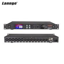 Lannge A 808 8 in & 8 fora processador de áudio digital lcd touchscreen 32bit dsp com usb rs232 interface do computador 1u montagem em rack