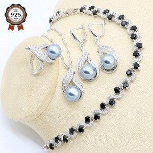 Conjunto de joyería de plata para mujer y Perla gris, pulsera negra, pendiente, collar, anillo colgante, caja de regalo para joyería