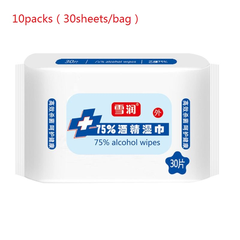 300 Sheets/10Pack 75% Alcohol Wipes Detergent Disinfection Wet Pads Antiseptic Cleanser Sterilization Antibacterial Tissue