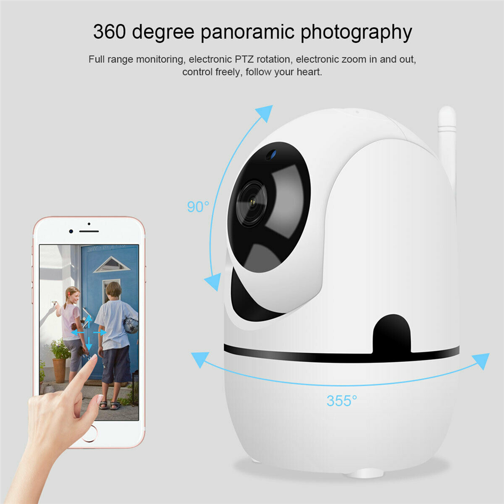 720P Wifi IP Camera Home Security Surveillance Camera White  Auto Tracking Network WiFi Camera Baby Monitor Night Vision