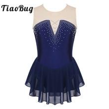 TiaoBug/Детская танцевальная одежда для подростков, блестящее Сетчатое платье со стразами для фигурного катания, балетные гимнастические леотарды, костюм для танцевального конкурса