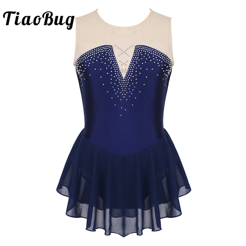 TiaoBug Kids Teens Dancewear Shiny Rhinestone Mesh Figure Skating Dress Girl Ballet Gymnastics Leotard Competition Dance Costume