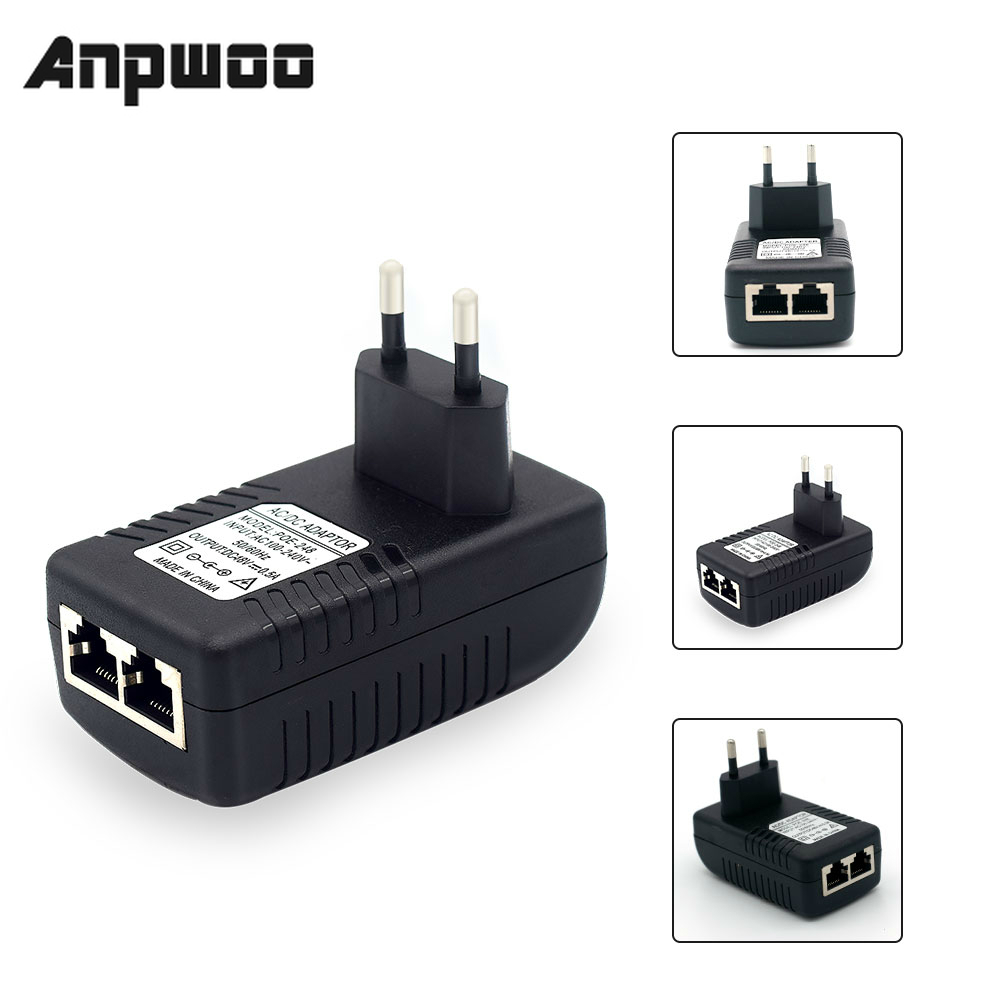 ANPWOO POE Injector AC220V  to DC12V 2A DC48V 0.5A POE Power Supply Over Ethernet Injector Adapter EU/UK/US Optional