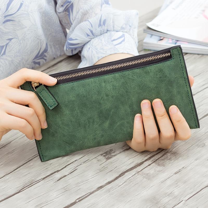2019 Designer Zipper Women Leather Slim Long Wallet Female Purse Clutch Thin Wristlet Phone Coin Credit Card Holder Solid