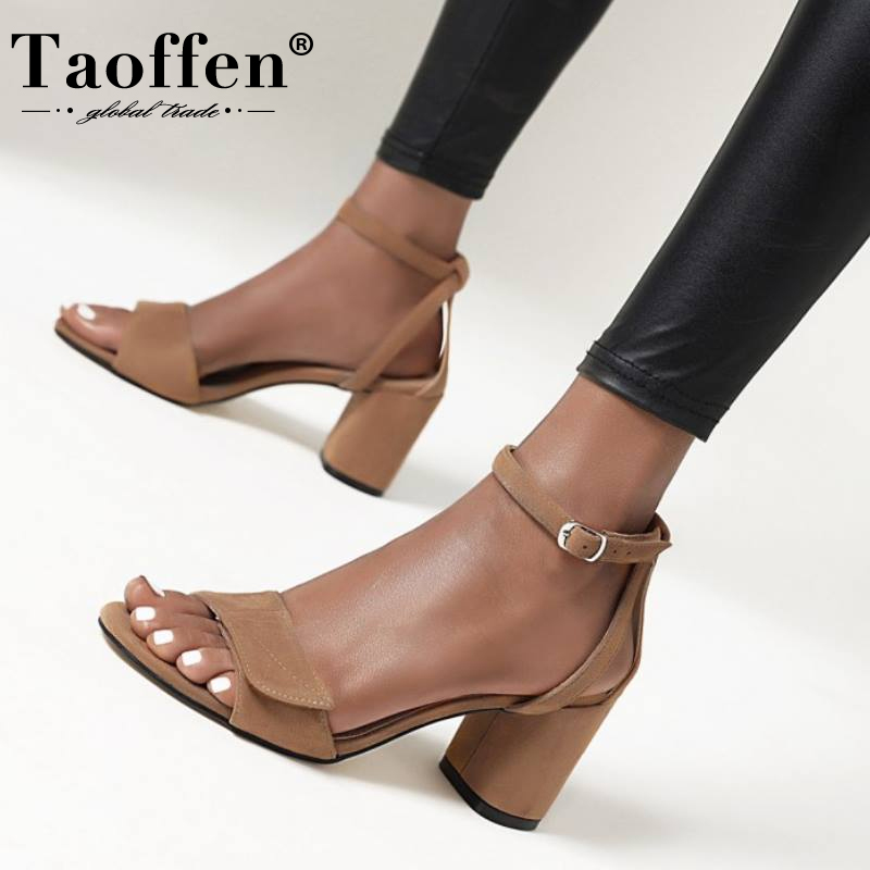 Taoffen Summer Woman Shoes Square Heel Sandals Thick High Heel Lady Shoes Buckle Cover Heels Flock Shoes Solid Color Size 34-43