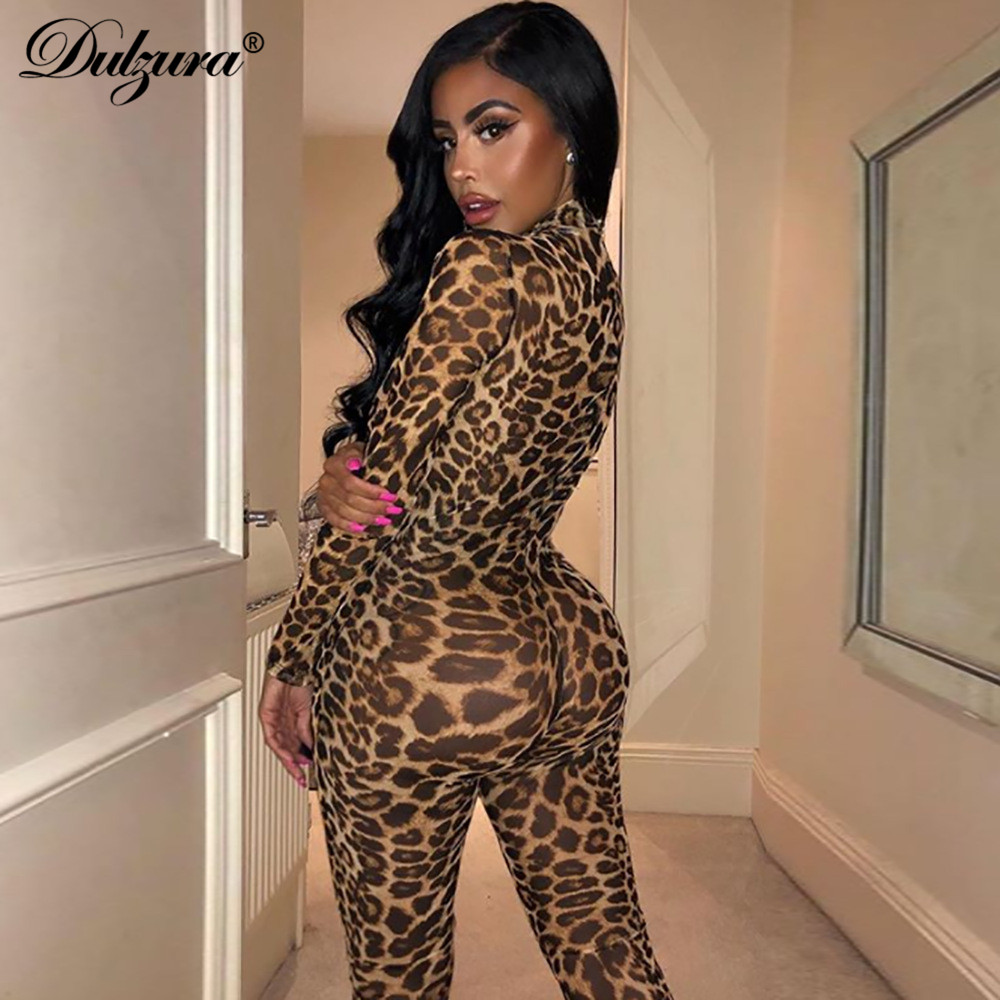 Dulzura see through transparent leopard print <font><b>sexy</b></font> women 2019 winter mesh long jumpsuit <font><b>festival</b></font> body <font><b>outfits</b></font> party clothing image