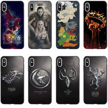 Jogo Do Trono Jon Snow Daenerys Dragão Preto silicone Phone Case Capa Para iPhone 5 5S SE 6 6SPlus 7 7Plus 8 8 Plus X XS MAX XR(China)