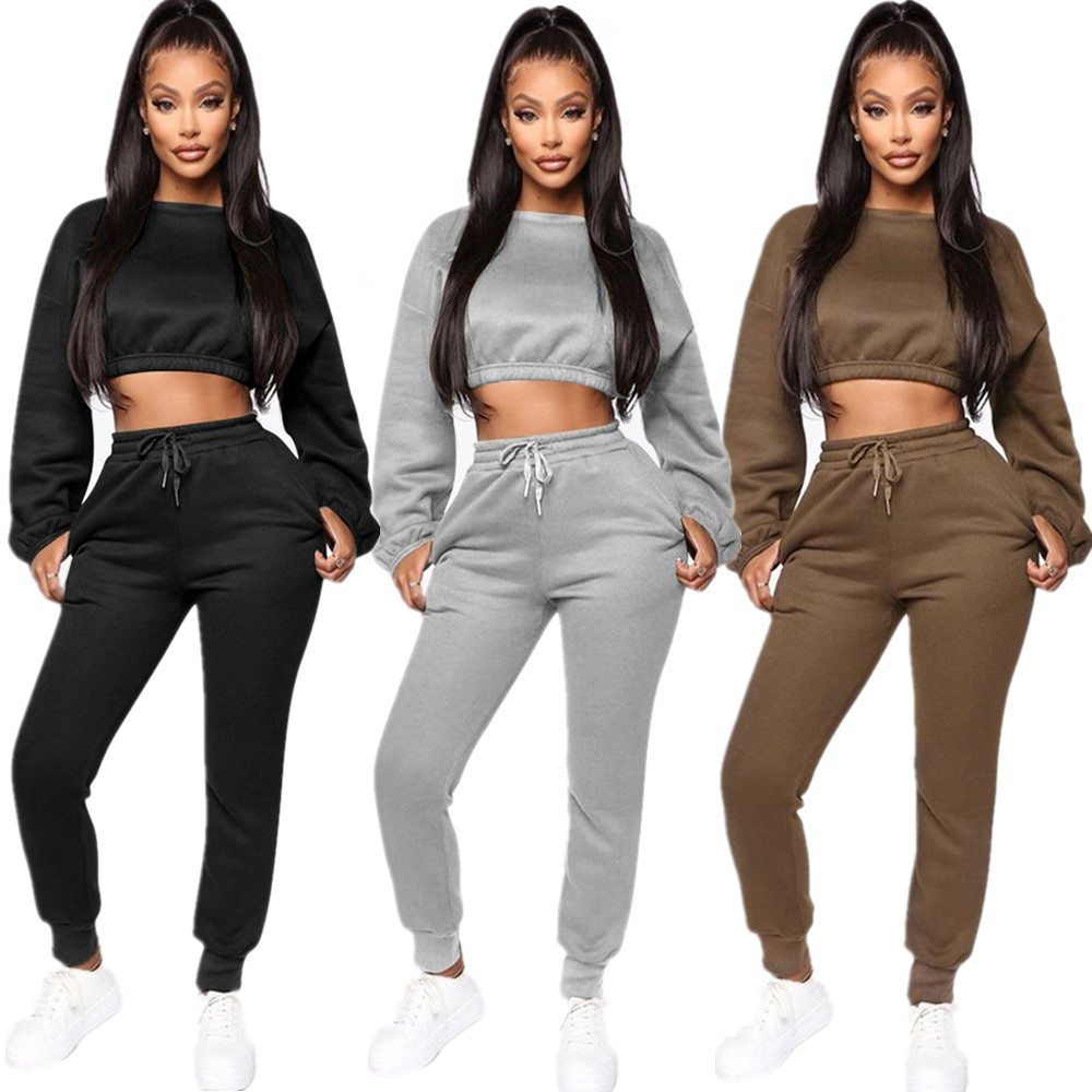 Echoine Winter Thick fleece Hoodies Tops and Pants Two Piece Set Women Tracksuit Crop Top Trousers Casual Sportwear Matching Set(China)