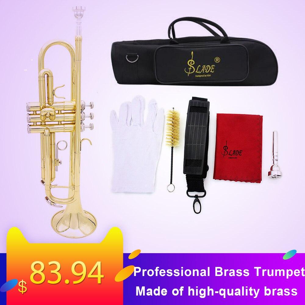 Trompette haute qualité Bb B plate en laiton Durable trompette avec un embout plaqué argent une paire de gants et un sac de concert exquis
