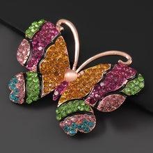 Moda metal strass borboleta broche feminino criativo popular corsage jóias acessórios