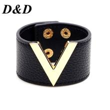 Europe And The Big Leather Bracelet Simple All-Match OL V Word Wide Bracelet For Women 2017 New Hand Jewelry(China)